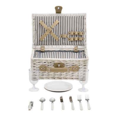 casa.pro Besteck-Set, Picknickkorb mit Besteck für 2 Personen Weiß