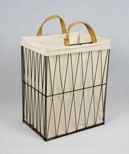 animal-design Wäschebox, Wäschekorb 35L aus Metall geflochten, zusammenklappbar Dekokorb schwarz