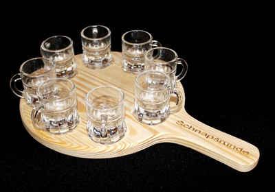 DanDiBo Schnapsglas »Schnapsrunde 20 cm mit Gravur und 8 Gläser Schnapsbrett Leiste Schnapslatte«, Holz