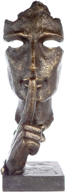 Casablanca by Gilde Dekofigur »Skulptur Silence, bronzefarben/grau« (1 Stück), Dekoobjekt, Höhe 39, mit Spruchanhänger, Wohnzimmer