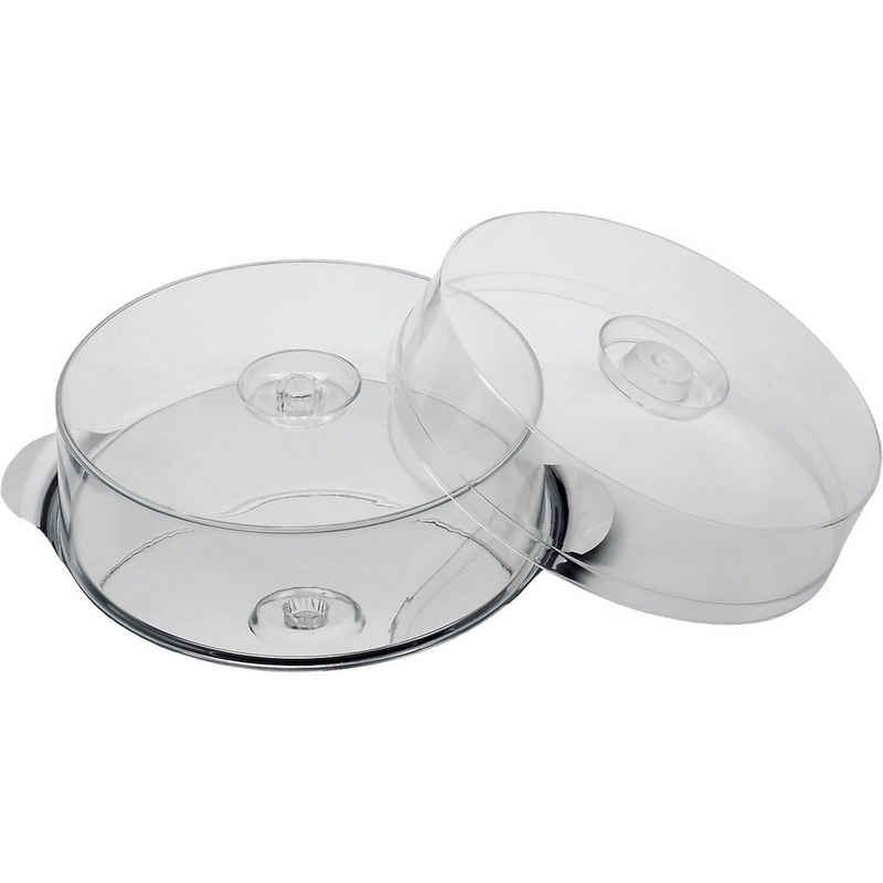 APS Kuchenplatte »Edelstahl Kuchen- & Tortenplatte mit 2 Hauben (H 7«