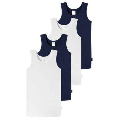 Schiesser Unterhemd »4er Pack Kids Boys 95/5 Organic Cotton« (4 Stück), Unterhemd - Mit Rundhalsauschnitt und tonalen Hals- und Armeinfässen, Extra hautfreundlich für höchsten Tragekomfort, Elastische Single-Jersey-Qualität