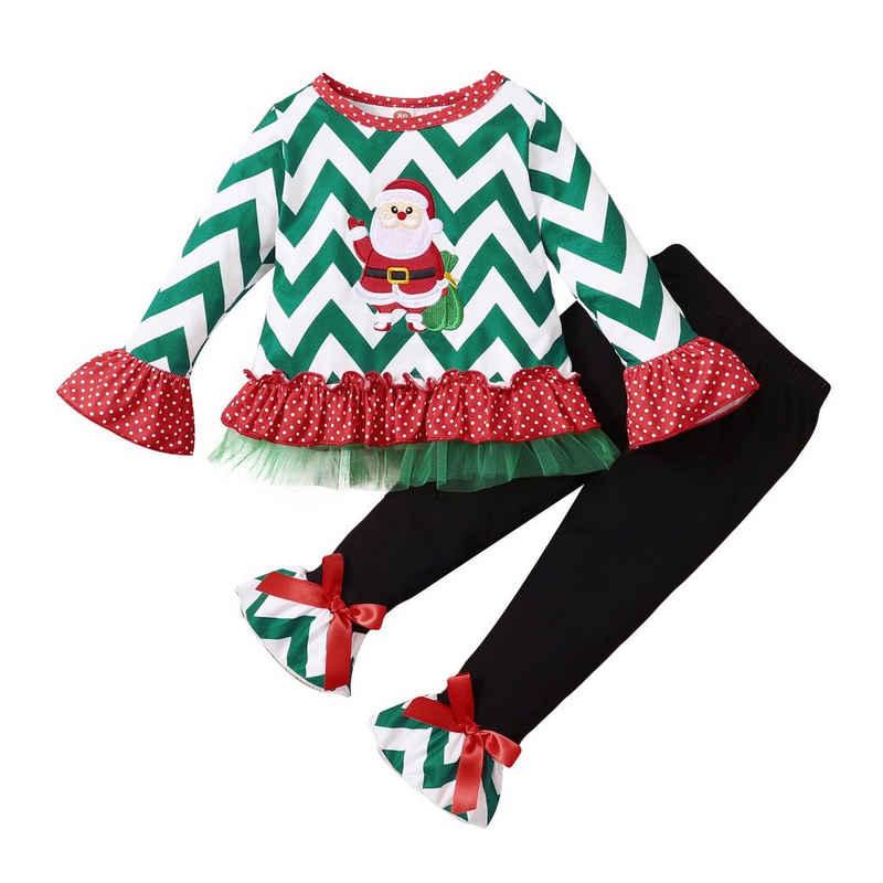 Lapastyle Langarmshirt & Leggings »Lapastyle Mädchenanzug, Weihnachtsoberteil + Hose, Polyester«