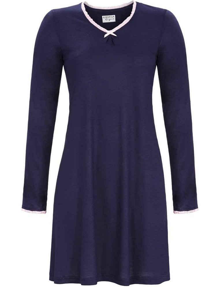 Ringella Nachthemd »Damen Langarm Nachtkleid mit V-Ausschnitt, 1561004 - Dunkelblau Knielang Baumwolle«