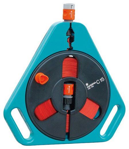 GARDENA Set: Schlauchbox »Classic roll-fix, 00756-20«, mit 15 m Flachschlauch, Systemteilen und Spritze