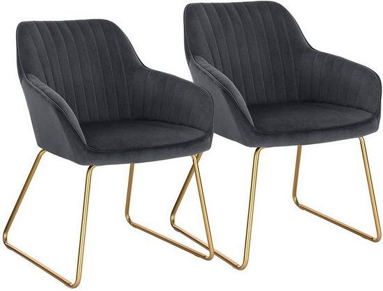 Woltu Esszimmerstuhl »BH246« (2er-Set), Küchenstuhl Polsterstuhl Wohnzimmerstuhl Sessel mit Armlehne, Sitzfläche aus Samt, Gold Beine aus Metall, Dunkelgrau