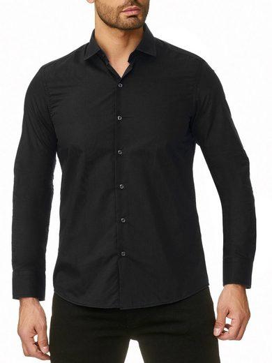 Reslad Langarmhemd »Reslad Herren Hemd Kentkragen Unicolor Langarmhemd« Freizeithemd Businesshemd mit Stretch-Anteil