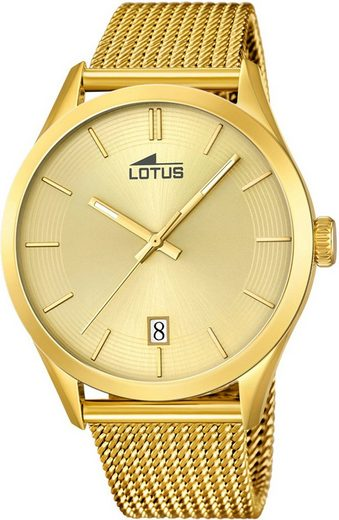 Lotus Multifunktionsuhr »UL18109/1 Lotus Unisex Uhr Elegant L18109/1«, (Analoguhr), Damen, Herren Armbanduhr rund, groß (ca. 43,2mm), Edelstahlarmband gold