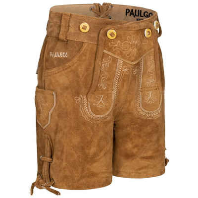 PAULGOS Trachtenhose »PAULGOS Kinder Trachten Lederhose kurz - KK1 - Echtes Leder - Größe 86 - 164«