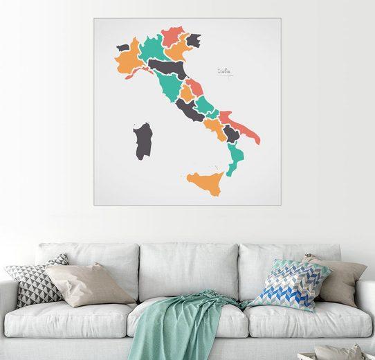 Posterlounge Wandbild, Italien Landkarte modern abstrakt mit runden Formen