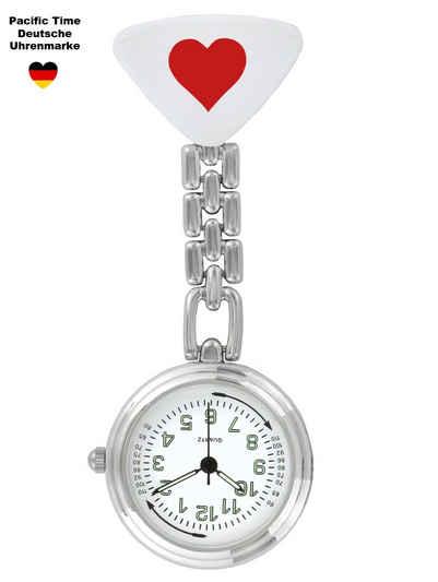 Pacific Time Krankenpflegeuhr »Schwesternuhr Krankenschwesteruhr Pulsuhr Kitteluhr Pflegeuhr Nurse Watch Herz rot 20023«, nachtleuchtende Zeiger und Pulsskala -- Kostenloser Versand