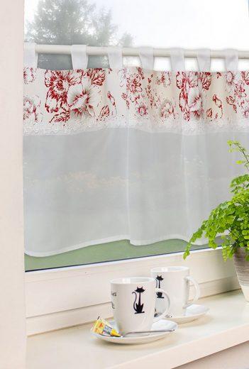 Scheibengardine »Schlaufengardine Küchengardine Kurzgardine 2474 Landhaus Spitze Blüten Natur Rot«, EXPERIENCE, Schlaufen (1 Stück), Store