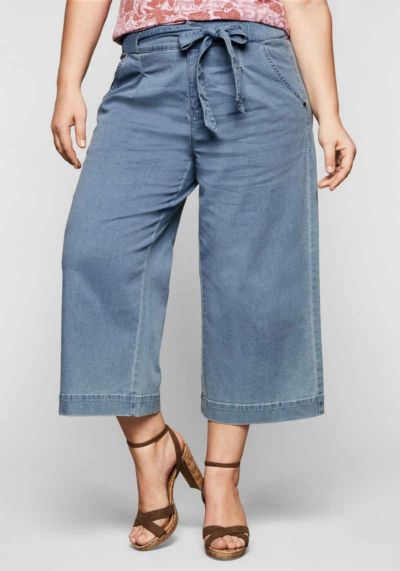Sheego Stretch-Jeans mit High-Waist-Bund und Bindegürtel