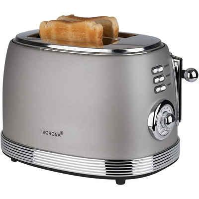 KORONA Toaster Retro Design Toaster 21667, grau, analoge Röstgrad Anzeige, Chrom Optik, Vintage Style, Tasten beleuchtet, 2 Scheiben