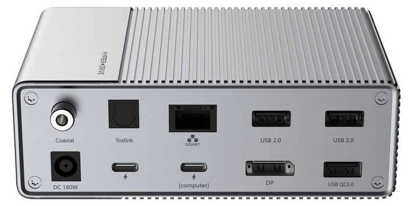 HYPER by Sanho Laptop-Dockingstation »HyperDrive«, [18-in-1 USB-C Hub für Apple MacBook / USB-C Notebooks, PD mit bis zu 100W, 2x HDMI (4k / 60Hz HDR), 1x DisplayPort (4k / 60Hz), 2x USB-A 10 Gbps, uvm.] - grau