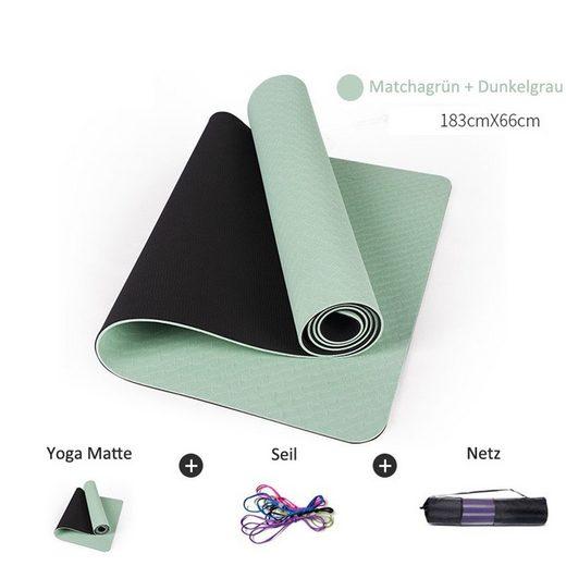 JI-ROC Yogamatte »Gymnastikmatte, Yogamatte Yogamatte Gepolstert & rutschfest für Fitness Pilates & Gymnastik mit Tragegurt-183 x 66 x 0,6cm« (1 * Yogamatte 1 * Bindeseil 1 * Netzbeutel)
