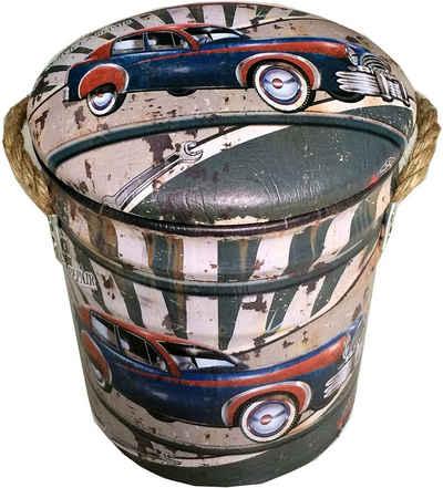 Mucola Sitzhocker »Hocker mit Stauraum Beige Grün Sitzhocker Rund Sitzbox Aufbewahrung Rustikal Metall Fußhocker Lager Möbel Vintage Griffe Tonne Motiv Papierkorb Relax« (2 St), Stauraum