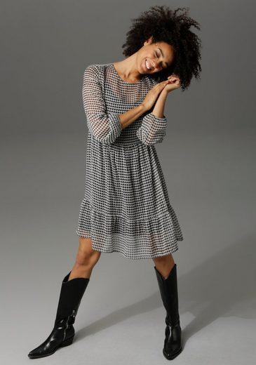 Aniston CASUAL Chiffonkleid mit attraktivem Hahnentritt-Muster
