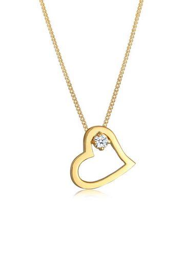 Diamore Collierkettchen »Herz Verbunden Diamant (0.03ct) 585 Gelbgold«