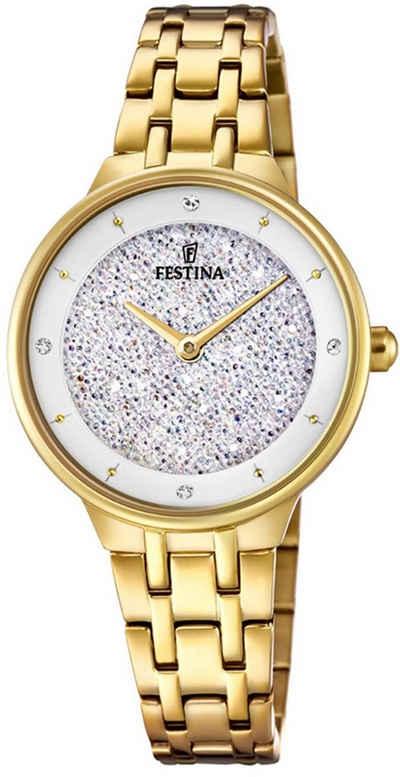 Festina Quarzuhr »UF20383/1 Festina Swarovski Elements F20383/1«, (Analoguhr), Damen Armbanduhr rund, Edelstahlarmband gold