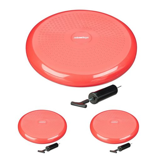 relaxdays Balancekissen »3 x Balance Kissen rot mit Luftpumpe«