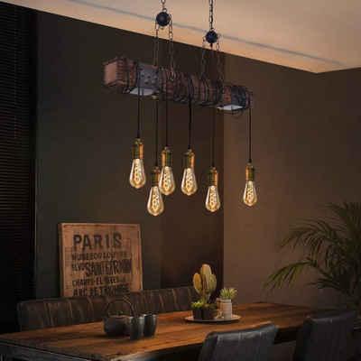 ZMH LED Pendelleuchte »Holz Hängeleuchte esstisch Pendellampe Retro Esstischlampe 80CM Holzbalken 6-Flammige E27 industrielle für Esszimmer Küche Bar Restaurant«
