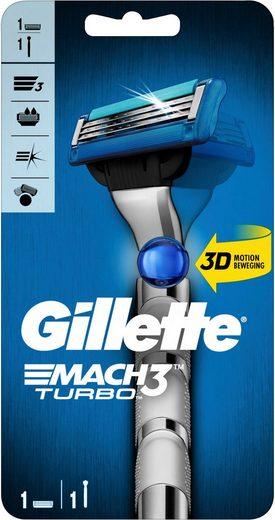 Gillette Nassrasierer »Mach3 Turbo«, 3-tlg., Rasierer + 2 Klingen