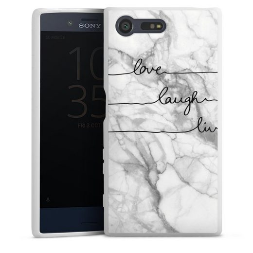DeinDesign Handyhülle »love, laugh, live Marmor« Sony Xperia X Compact, Hülle Marmor Sprüche Liebe