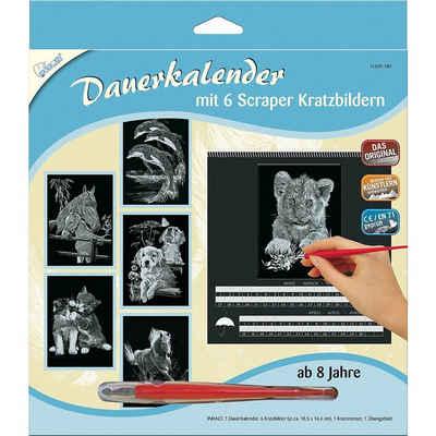 MAMMUT Spiel und Geschenk Bild »Dauerkalender mit 6 Kratzbildern - Silber Tiere 1«
