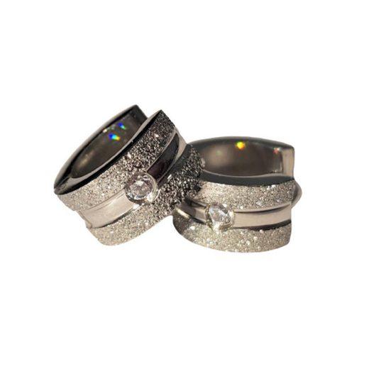 BUNGSA Creolen-Set »Creolen Sand-gestrahlt mit Kristall Silber aus« (inkl. Schmuckbeutel aus Organza), Ohrschmuck Ohrringe Frauen Geschenk Liebe