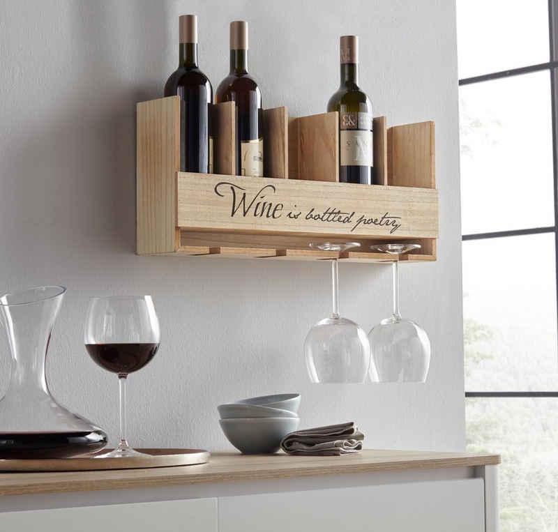 Home affaire Weinregal, mit Halterung für Flaschen und Gläser