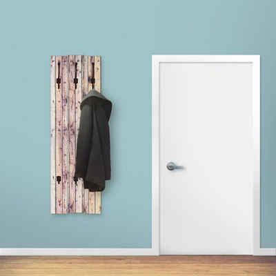 Artland Garderobenpaneel »Weißer Vintage-Hintergrund«, platzsparende Wandgarderobe aus Holz mit 5 Haken, geeignet für kleinen, schmalen Flur, Flurgarderobe