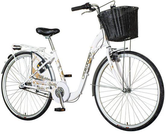 breluxx Cityrad »28 Zoll Damenfahrrad Tiefeinstieg Venera Fashion Eternity Rücktritt Citybike mit Korb + Licht«, 3 Gang Shimano Nexus Schaltwerk, Nabenschaltung