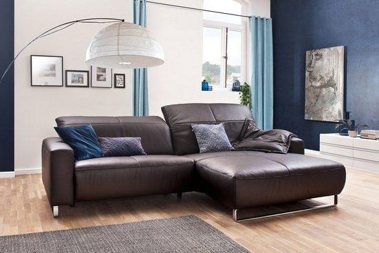 KAWOLA Sofa Leder Life-line Fuß Chrom matt Recamiere wählbar, »verschiedene Farben YORK«