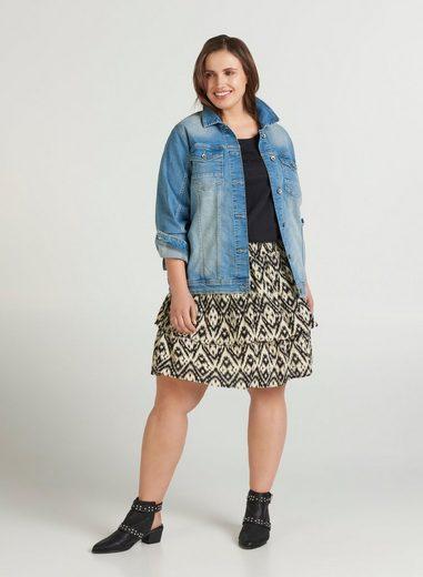Zizzi Jeansjacke Große Größen Damen Knöpfe Kragen Brusttaschen