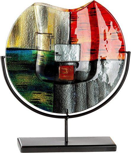 GILDE GLAS art Dekovase »Mirano 1«, handbemalt mit Fusingglas-Elementen