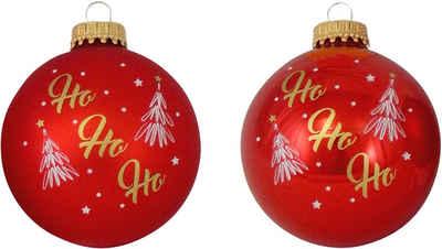 """Krebs Glas Lauscha Weihnachtsbaumkugel »CBK70286« (4 Stück), mit Schrift """"HoHoHo"""""""