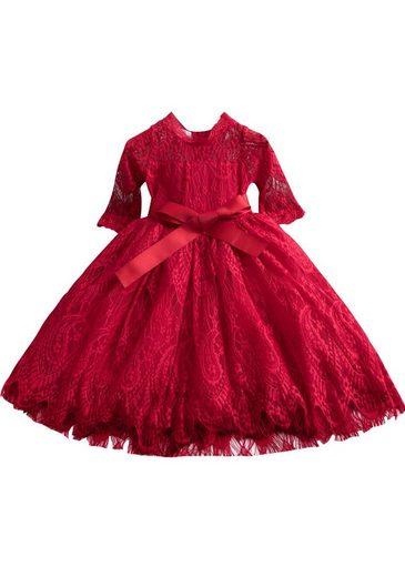 TOPMELON Spitzenkleid (1-tlg) Mädchen Prinzessin Kleid, Mit Farbband