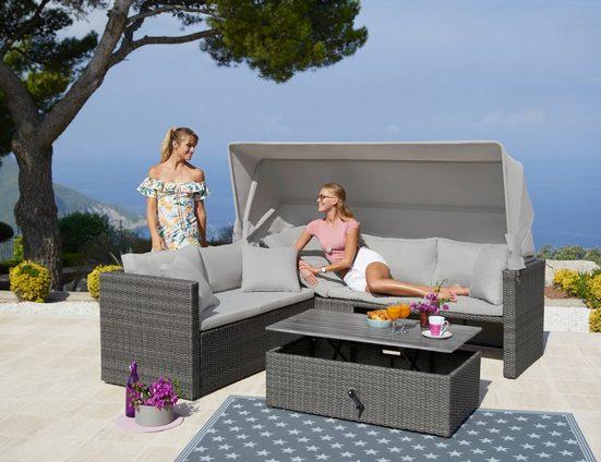 MERXX Loungeset »San Marco«, 15-tlg., Ecklounge, Tisch 110x60x35-57 cm, Polyrattan/Akazie