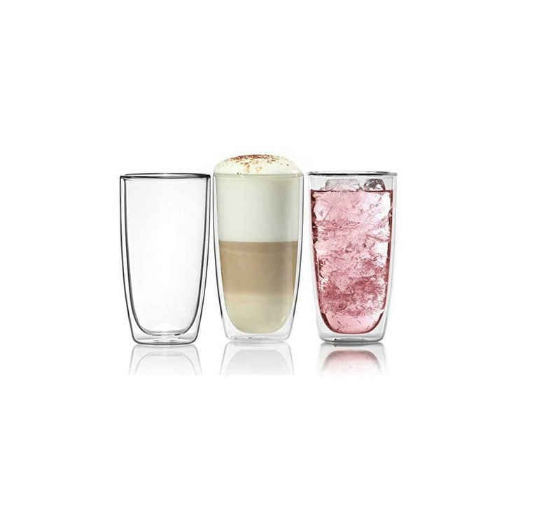 Dimono Latte-Macchiato-Tasse »Doppelwandiges Trinkglas 450ml«, Borosilikat-Glas, Wasser- Longdrink- & Cocktailgläser
