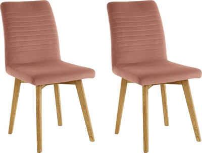 OTTO products 4-Fußstuhl »Alessja« (Set, 2 Stück), Bezug aus Microfaser, Gestell aus Eiche Massivholz