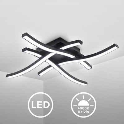 B.K.Licht Deckenleuchte, 4-flammige LED Deckenleuchte, 4.000K Neutralweiß, 20 Watt, 2.000 Lumen, Schwarz, Acrylweiß, Wellenförmig, Geschwungen, 425x425x70 mm