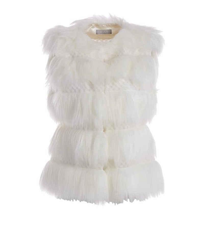 TUZZI Kurzweste »TUZZI Weste extravagante Damen Fake-Fur-Weste Mode-Weste Weiß«