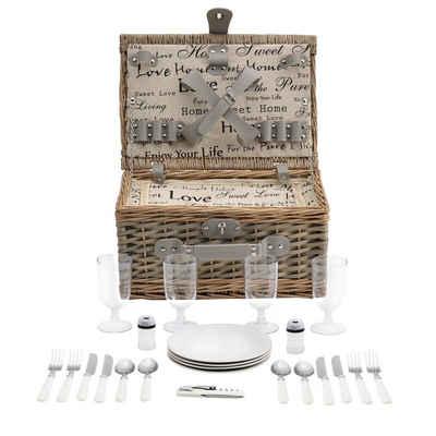 casa.pro Besteck-Set, Picknickkorb mit Besteck für 4 Personen Grau