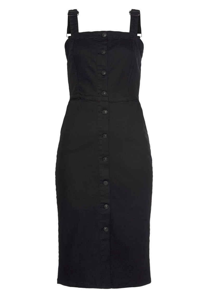 LTB Jeanskleid »LARSA« mit durchgehender Knopfleiste, ohne Ärmel und in figurbetonter Passform
