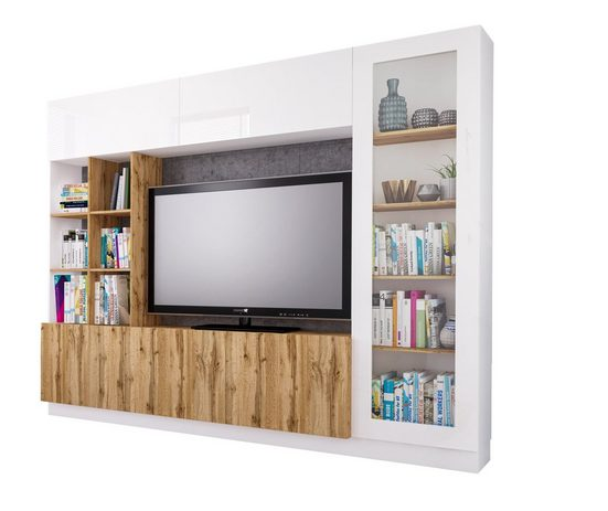 Möbel-Lux Wohnwand »Eras«, (4-tlg), Neman Wohnzimmer Wohnwand Eras Eiche Wotan Nachbildung
