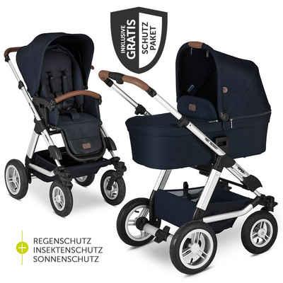 ABC Design Kombi-Kinderwagen »Viper 4 - Shadow«, (7-tlg), 2in1 Kinderwagen-Set mit Lufträdern - inkl. Babywanne, Sportsitz & XXL Zubehörpaket