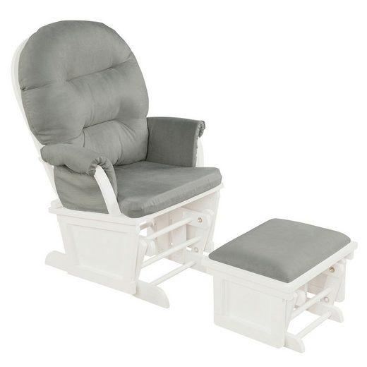 COSTWAY Schaukelstuhl »Relaxstuhl, Schwingsessel, Schwingstuhl«, mit Hocker und abnehmbare Kissen