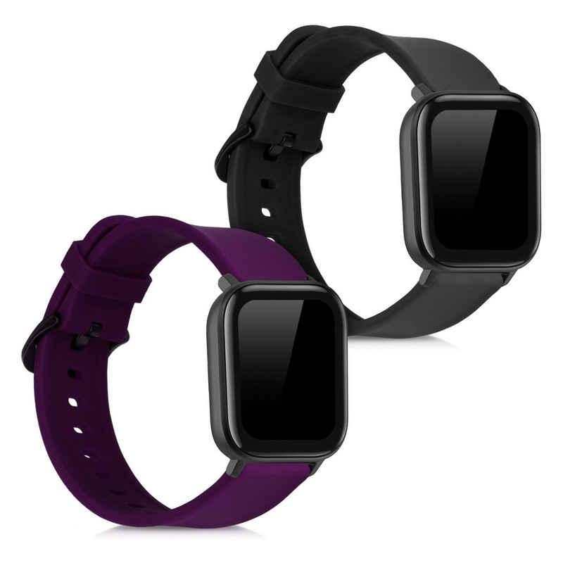 kwmobile Uhrenarmband, 2x Sportarmband kompatibel mit Huami Amazfit GTS / GTS 2 / GTS 2e - Armband TPU Silikon Set Fitnesstracker