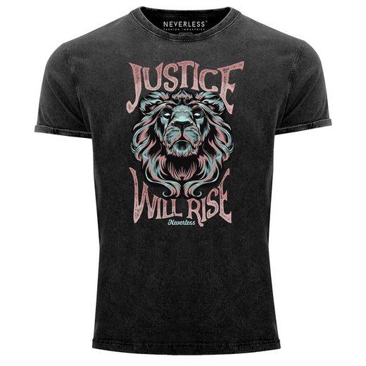 Neverless Print-Shirt »Neverless® Herren T-Shirt Vintage Shirt Printshirt Löwe Löwenkopf Motiv Fashion Streetstyle Schriftzug Justice will rise Aufdruck Used Look Slim Fit« mit Print